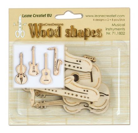 71.1802 ~ MUSICAL INSTRUMENTS - WOOD SHAPES ~ by Leane Creatief